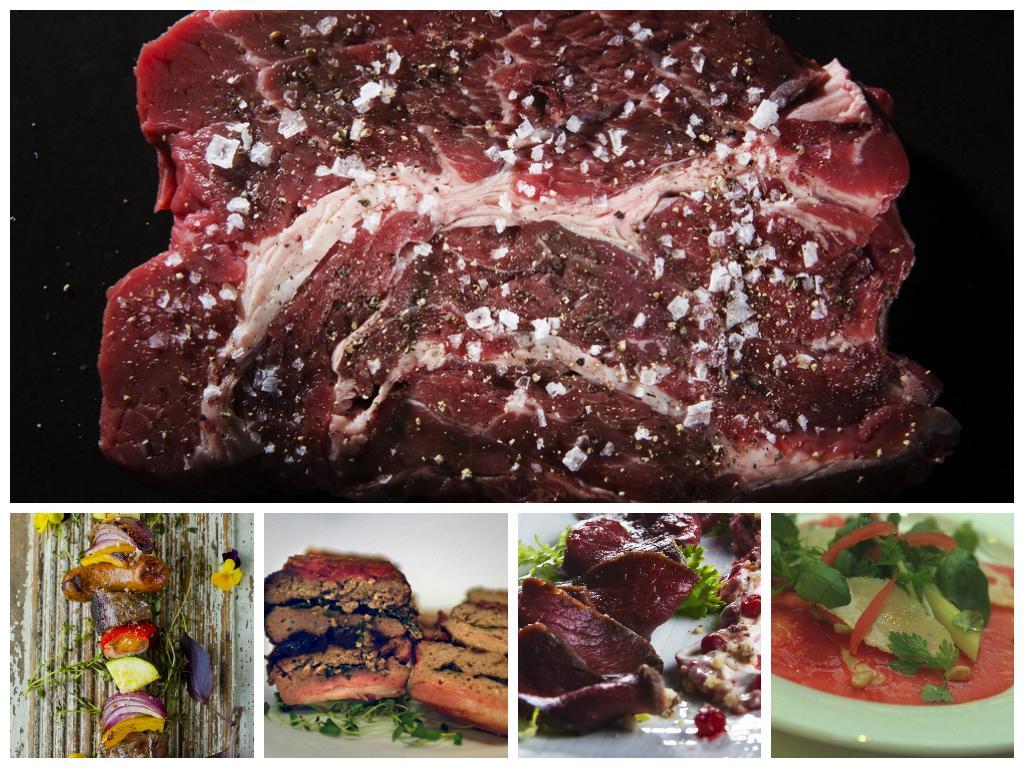 Kollasj med bilder av kjøtt. Foto.