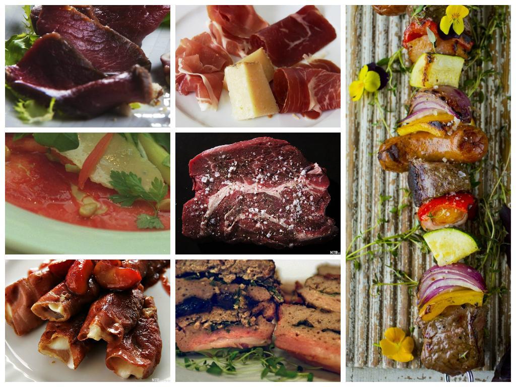 kollasj med bilder av kjøtt