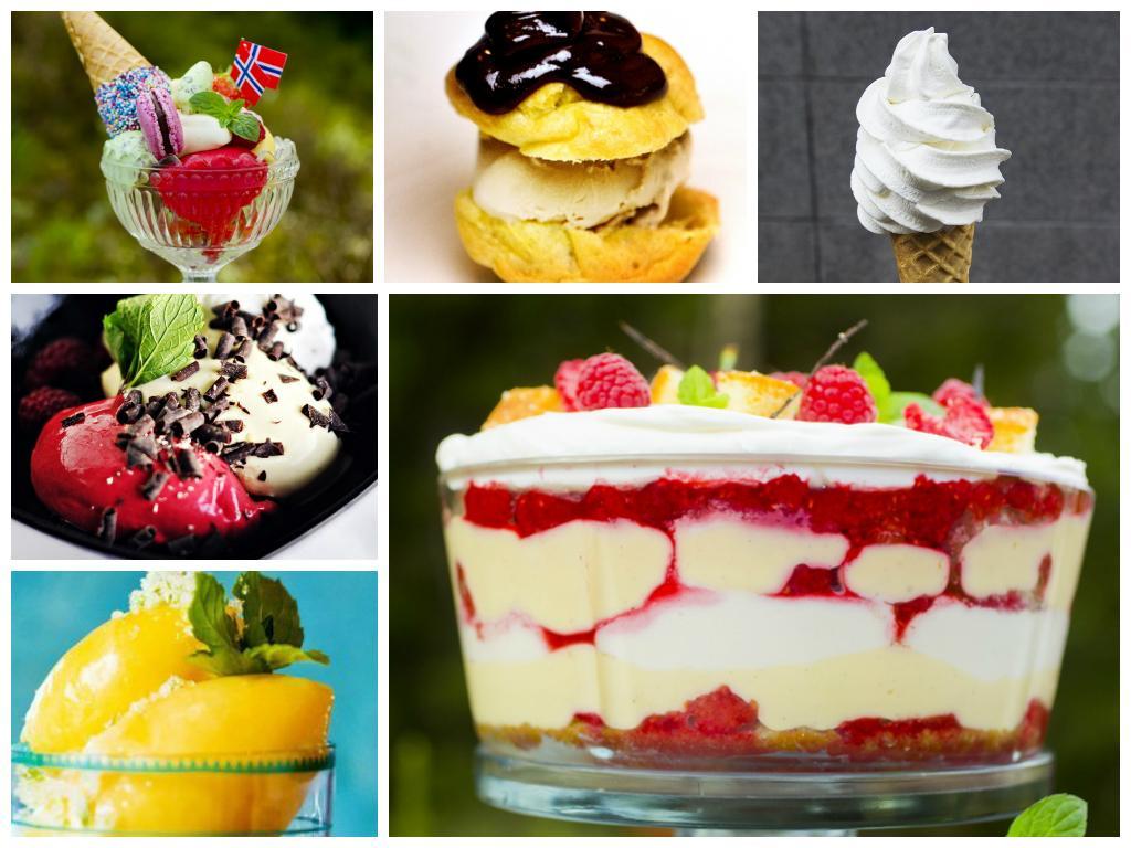 kollasj av bilder med iskrem