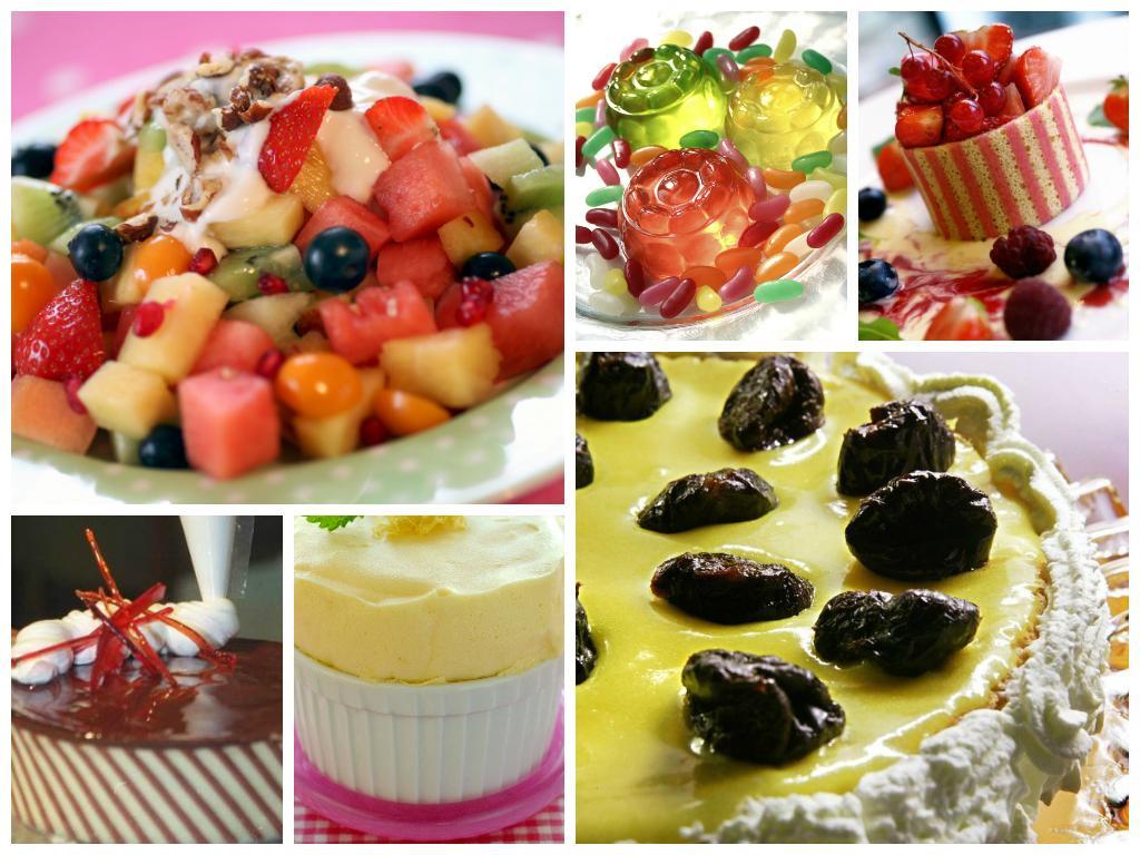 kollasj med bilder av kalde desserter