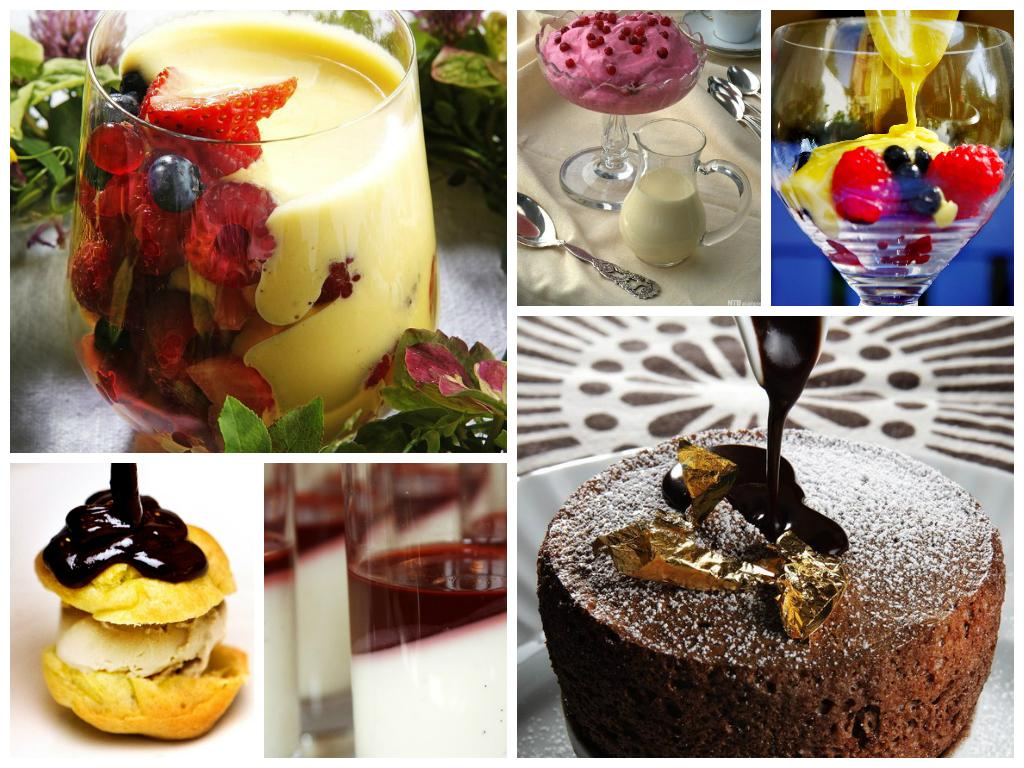 kollasj med bilder av dessertsauser