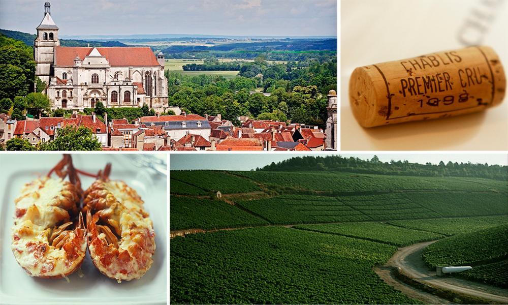På bildet ser du Tonnerre, som ligger nære Chablis og grønne vinmarker fra området Chablis.