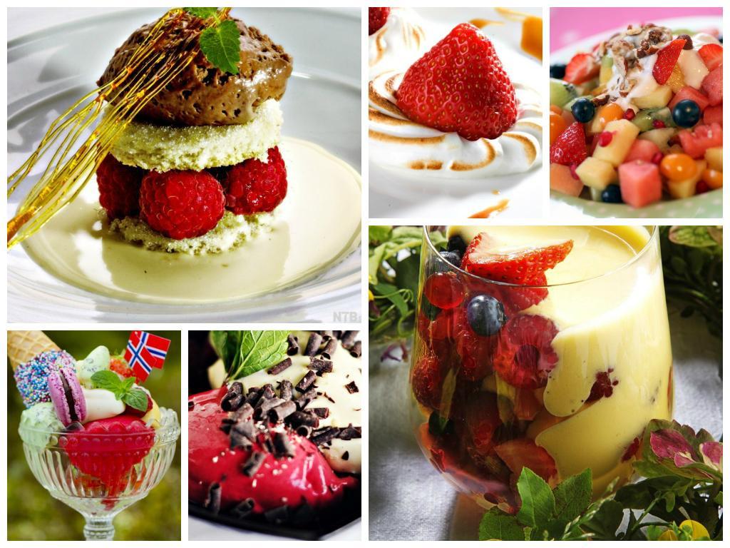 kollasj med bilder av desserter
