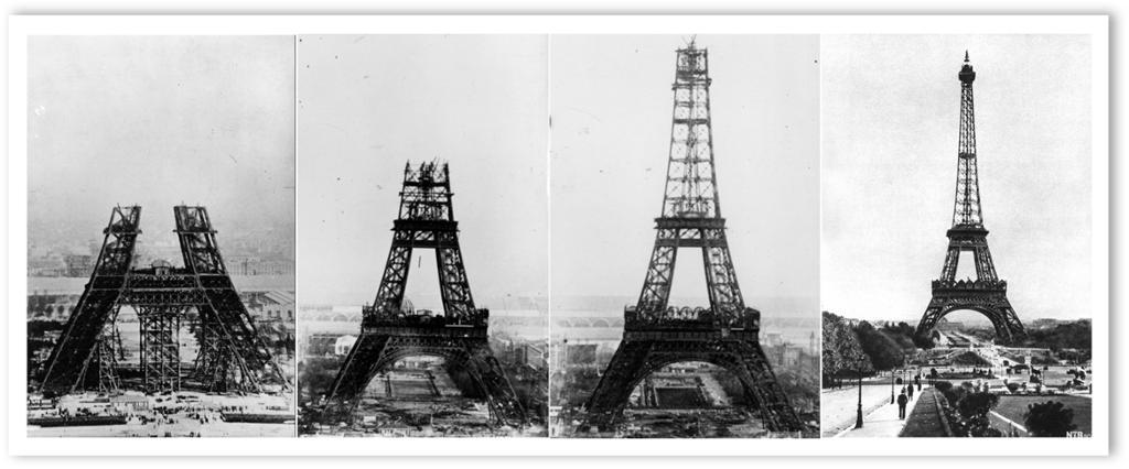 Illustrasjon av byggingen av Eiffeltårnet i 1888