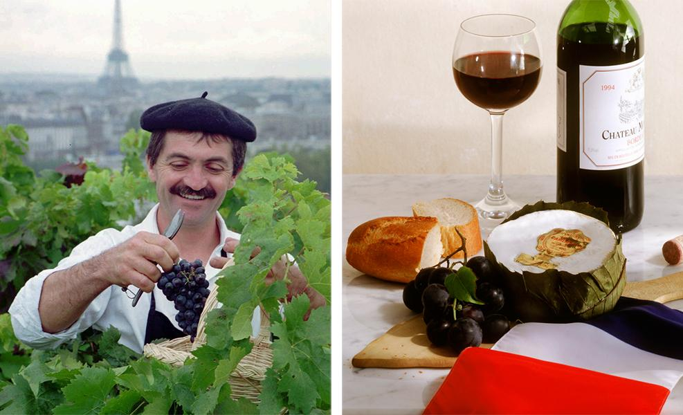 Kollasj: Frankrike, vin og mat.