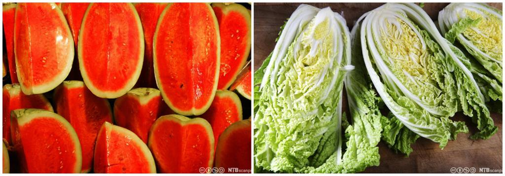Vannmelon i stabel og oppdelt kinakål. Kollasj.