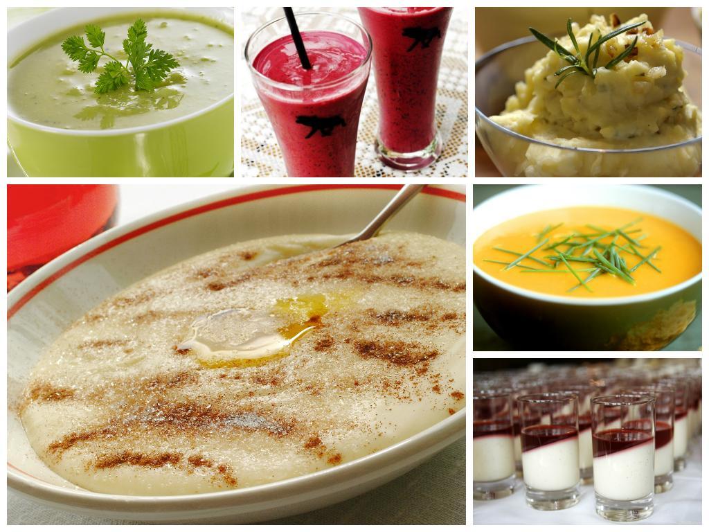kollasj med bilder av mat som passer til geleringskost