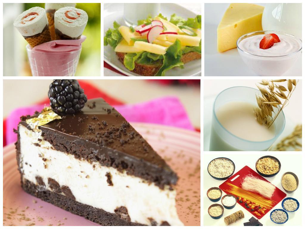 kollasj med matvarer med og uten laktose og gluten