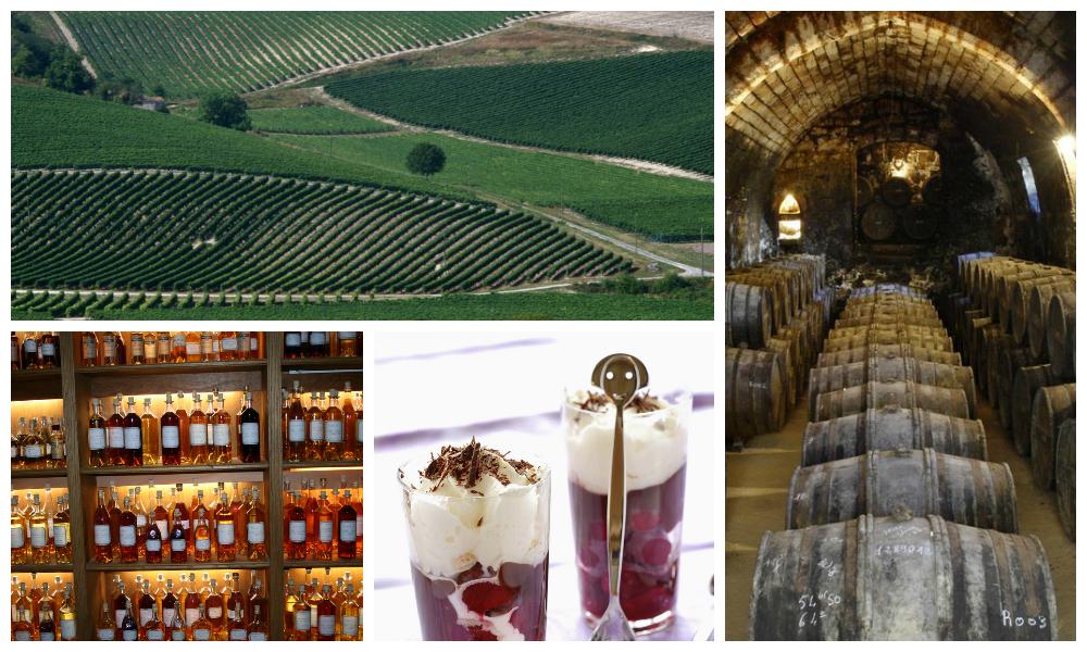Kollasj: Naturlig brennevin - Kirsebær og cognac. Vinmarker i Charente. Lagring av cognac på eiketønner.