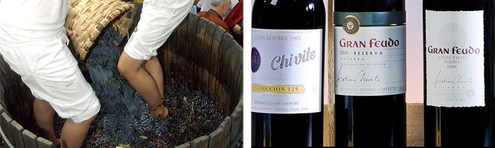Kollasj: Navarra. To jenter står barbeint i en tønne og knuser druer. Tre viner fra vindistriktet Navarra.
