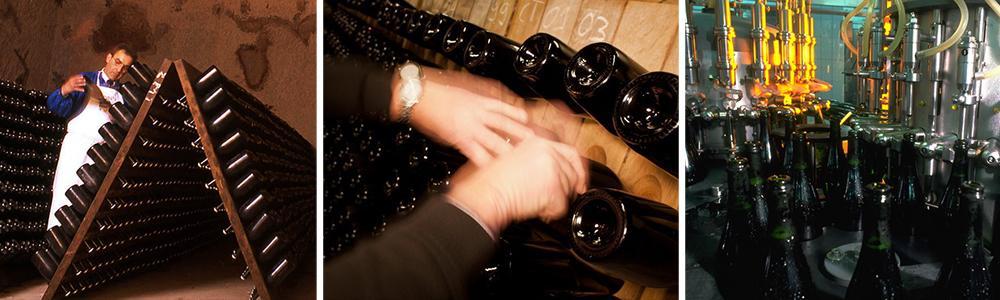 Kollasj: rotering av champagneflasker
