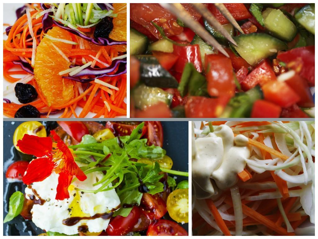 kollasj med salater og dressinger