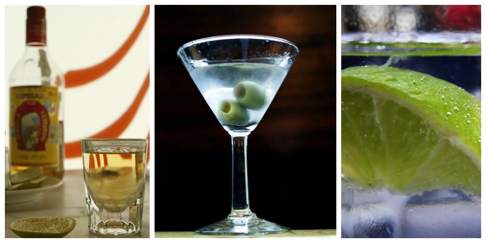 Kollasj: Brennevin med dry martini, tequila shot og drink med isbiter og lime.
