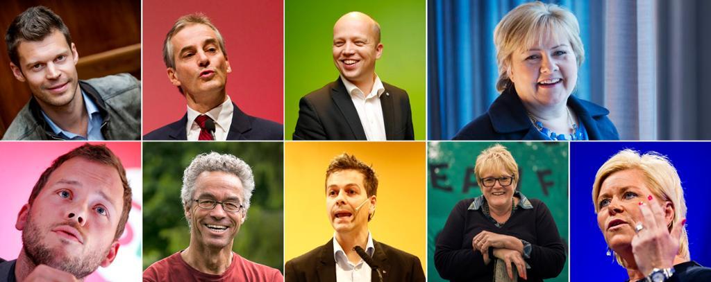 Norske partiledere. Fotokollasj.