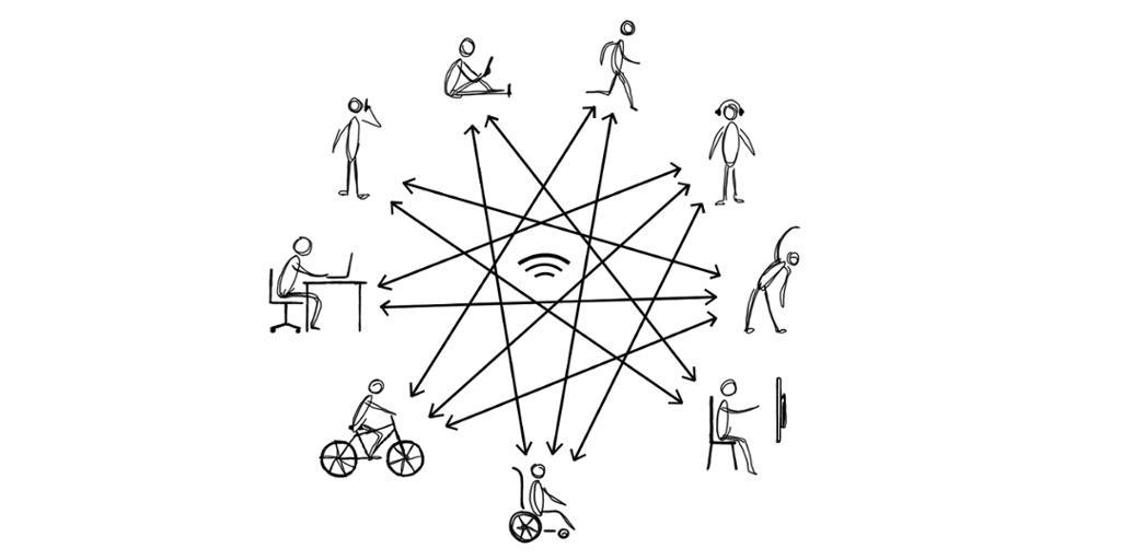 Mange til mange kommunikasjon. Illustrasjon.