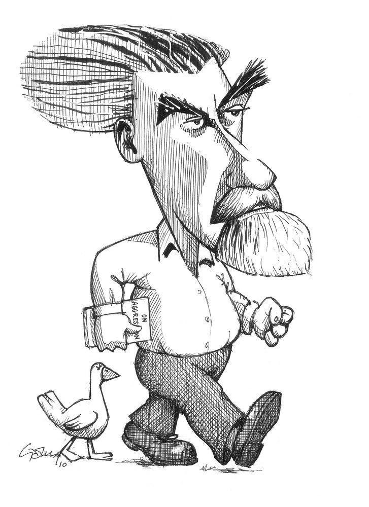 Karikatur av Konrad Lorenz. Illustrasjon.
