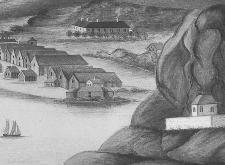 Historisk bilde som viser utløpet av elva Otra øst for Kristiansand. Illustrasjon.