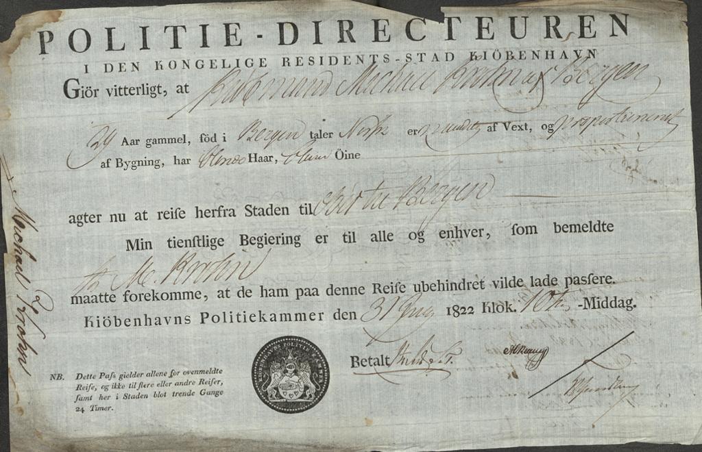 Et reisepass fra 1822 utstedt til kjøpmann Michael Krohn. Foto av kilde.
