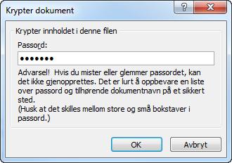 Tekstvindu som viser passordbeskytting av Word-dokument. Foto.