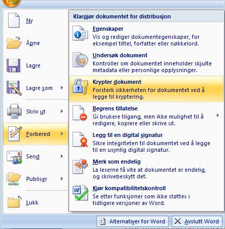 Meny som viser hvor krypteringsfunksjon i Microsoft Office ligger. Foto