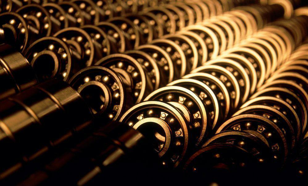 Rader av kulelager. Foto.