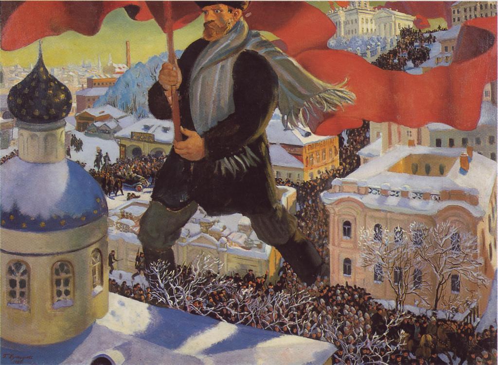 Bolsjeviken. Maleri som viser den revolusjonære bolsjeviken som en kjempe med rødt vaiende flagg som går gjennom befolkningen i en by. Oljemaleri.