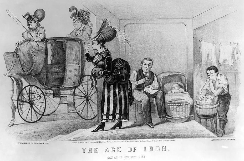 Menn syr, vasker og passer barn mens kvinnene staser seg opp og drar bort i hestevogn. Illustrasjon.