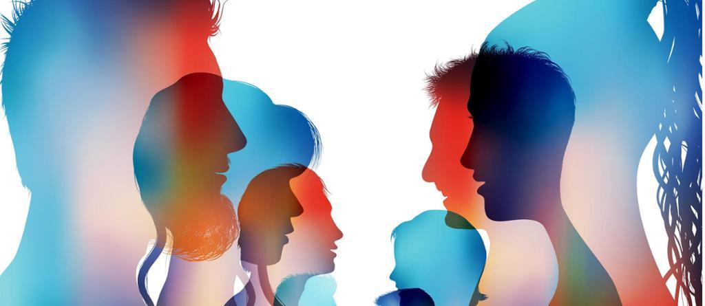 Gruppe med fargede silhuetter av personer som snakker sammen. Illustrasjon.