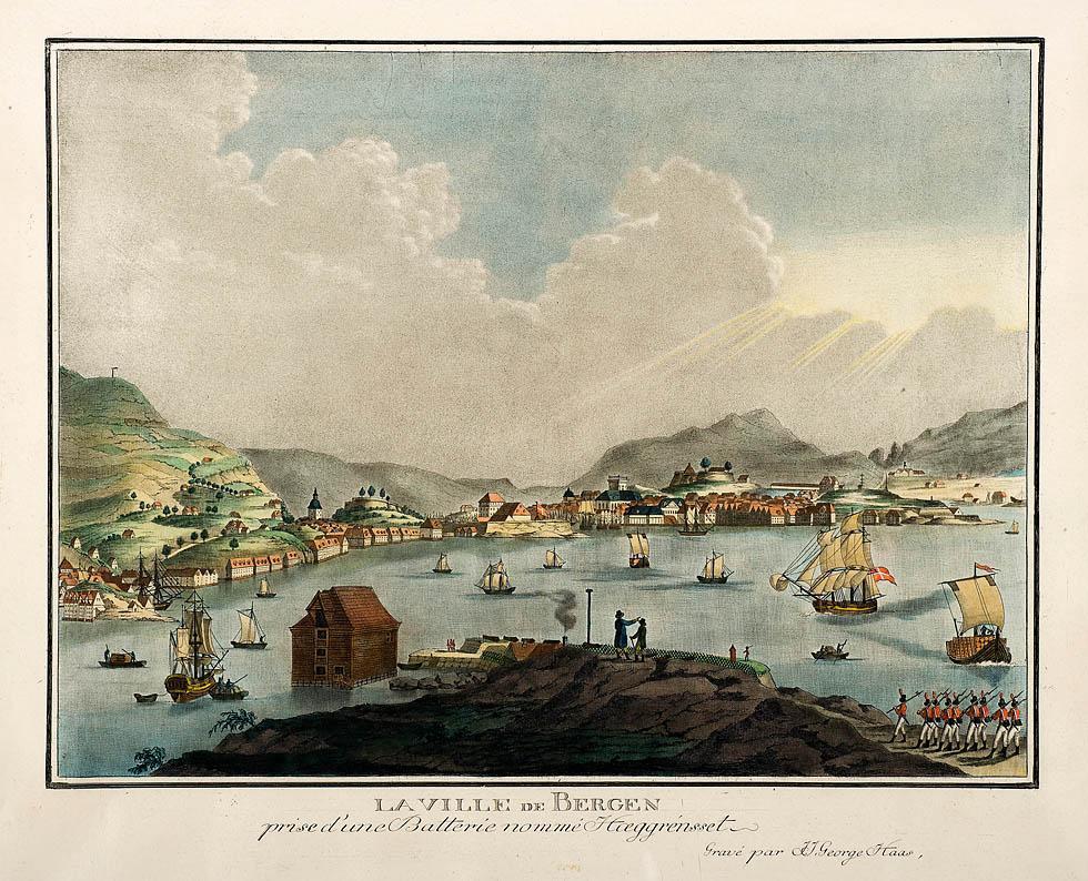Bergen sett fra Hegreneset, ca 1800. Illustrasjon.