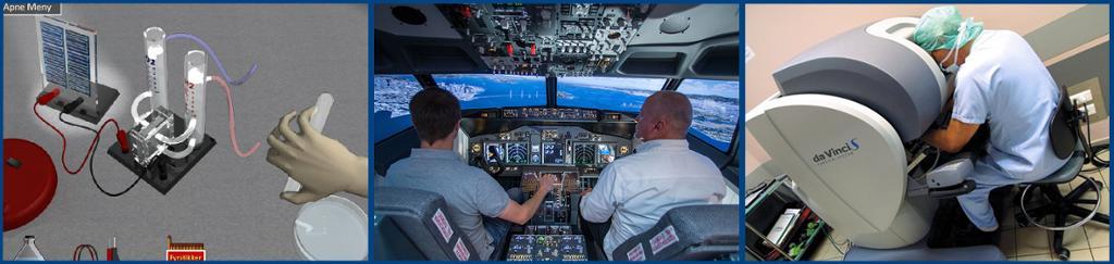 Kollasj av interaktiv lab og flysimulator. Foto.