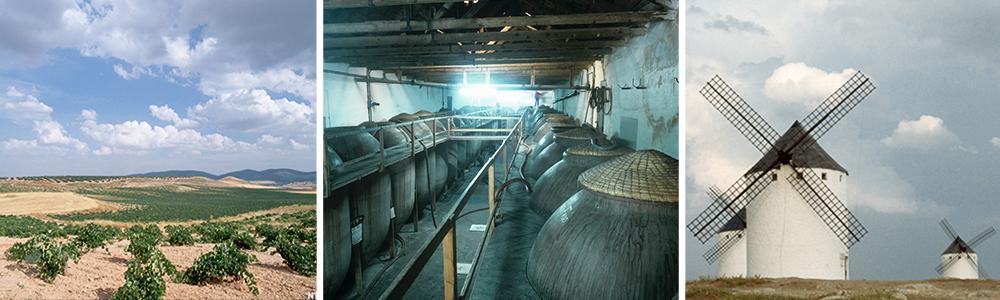 Kollasj: La Mancha. Bilder fra området. Vindmøller, sletter og tønner til lagring av vin.