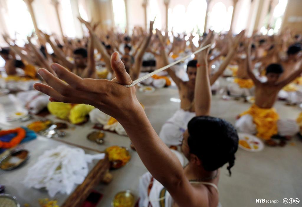 Et fotografi av brahminer i bønn.