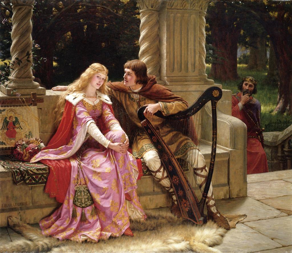 Isolde og Tristan sitter på en benk og snakker sammen. Tristan holder harpa mellom beina. Kong Mark står i bakgrunnen og iakttar dem. Maleri.