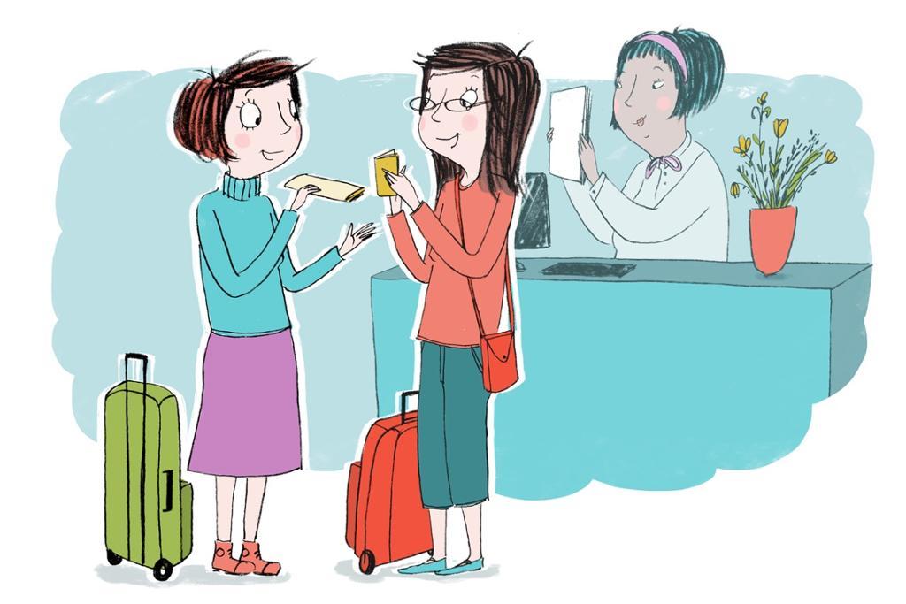 Ma Hong og Li Meiyu sjekker inn på hotell. Illustrasjon