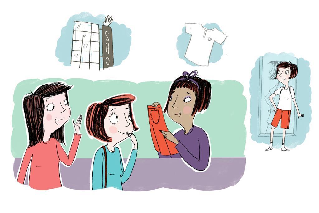 Tegneserie om to jenter som handler klær. Illustrasjon.