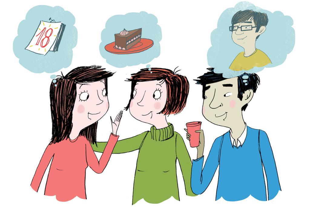 To vestlige kvinner og en kinesisk mann snakker sammen om å reise på ferie. Illustrsjon.