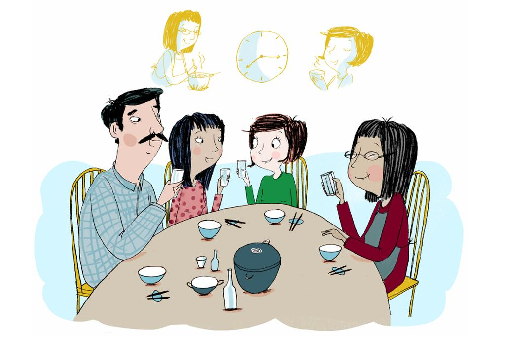 Fire personer sitter rundt et bord. Illustrasjon.