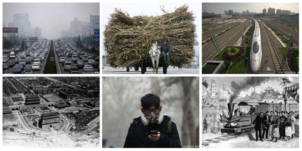 Det første toget i Kina, moderne høyhastighetstog, biler, esel og kjerre, mann med maske mot forurensningen. Kollasj.