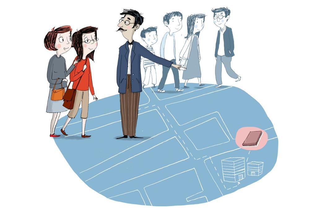 Ma Hong og Li Meiyu spør om veien. Illustrasjon.