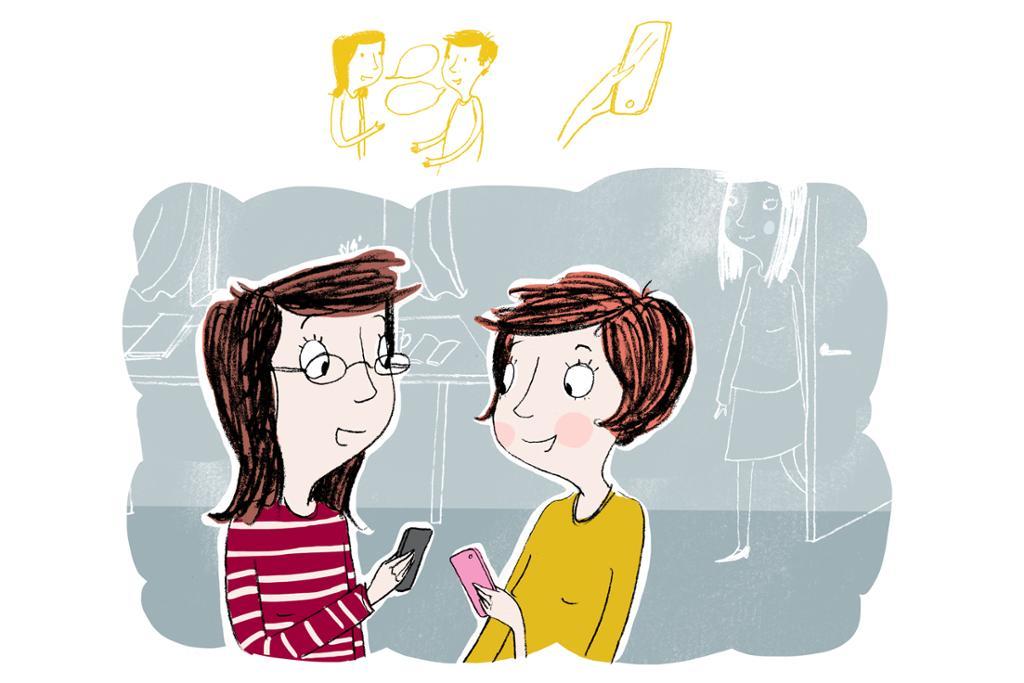 Li Meiyu og Ma Hong snakker om sosiale medier. Illustrasjon.