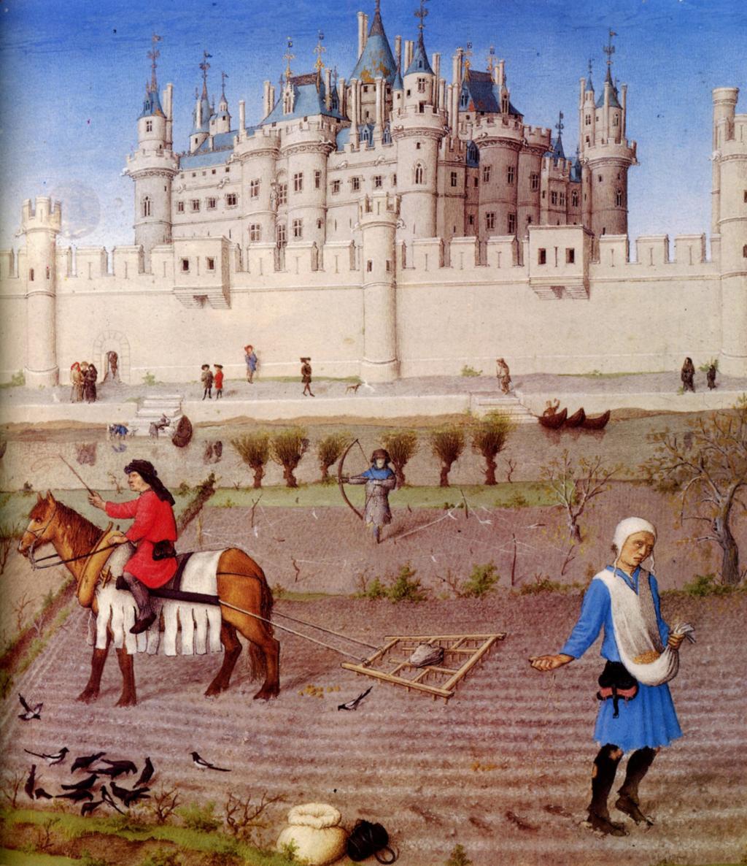 """Bønder i et føydalsystem forbereder åkeren til vinteren. Hentet fra """"The Very Rich Hours of the Duke of Berry"""", fransk gotisk illustrasjoner fra 1400-tallet. Ilustrasjon."""