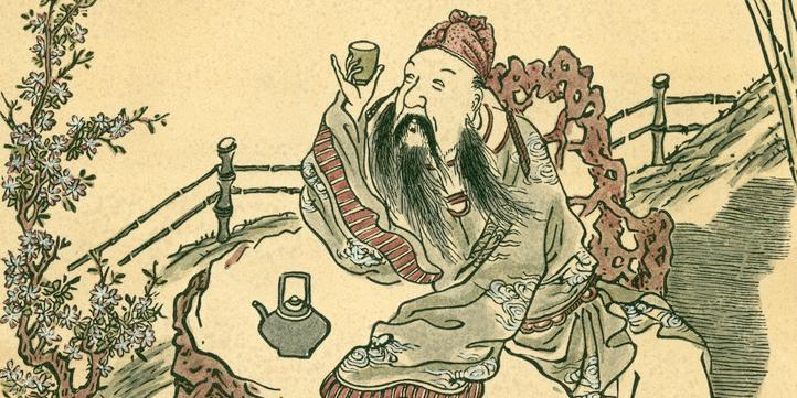 Li Bai, en kjent kinesisk dikter sitter ute og drikker te. Tegning.