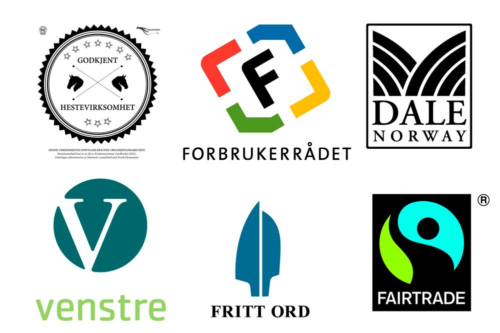 Oppstilling av ulike logoer. Grafisk.