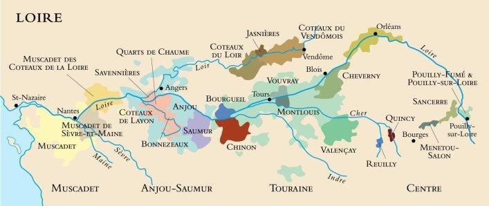 Kart av vindistriktet Loire i Frankrike. Foto.