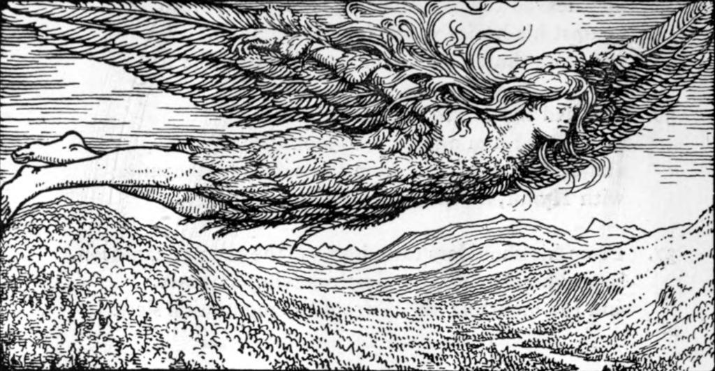 Loke flyr til Jotunheimen i Frøyas fjærdrakt. Illustrasjon.
