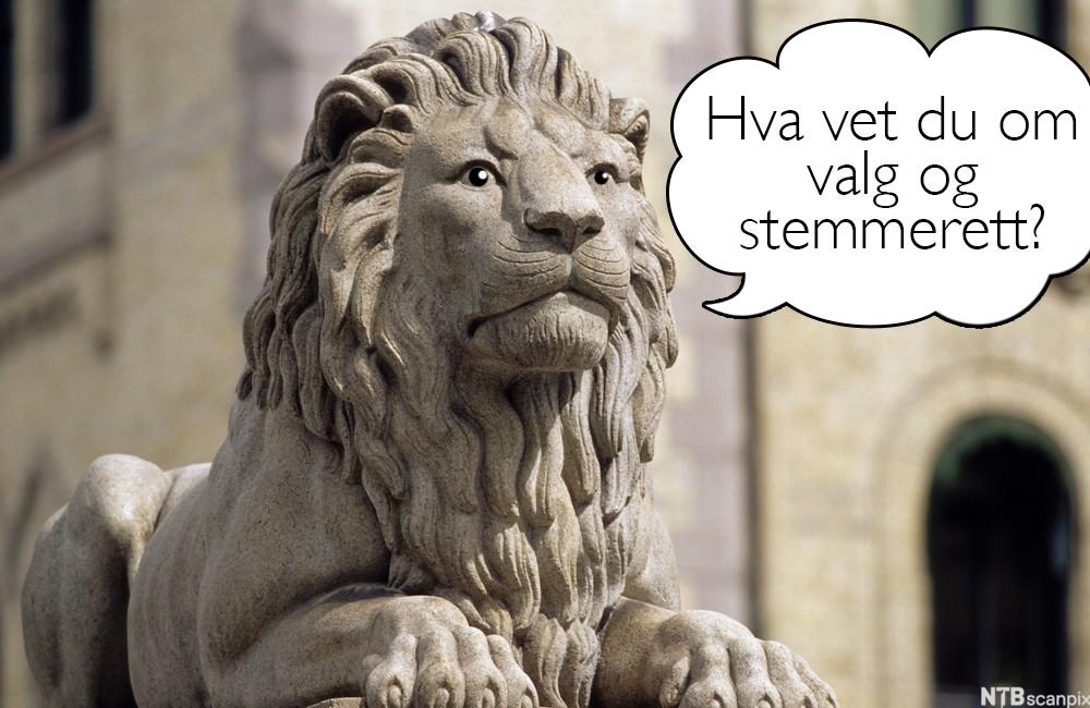 Løve foran Stortinget