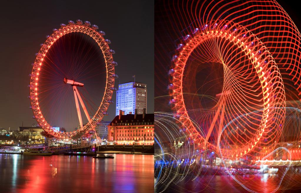 London eye fotografert med lang lukkertid. Foto.