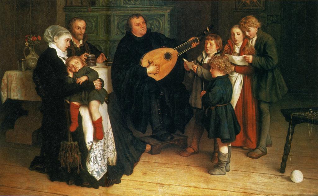 Martin Luther spiller lutt omgitt av kone og barn. Maleri.