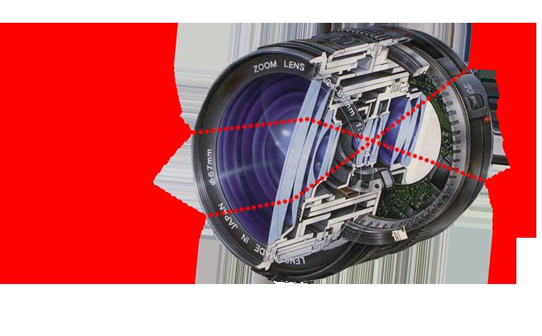 Illustrasjon som viser hvordan lyset brytes i et objektiv. Foto. Illustrasjon.