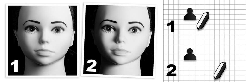 Dukke fotografert to ganger med forskjellig avstand til hovedlyset. Foto.